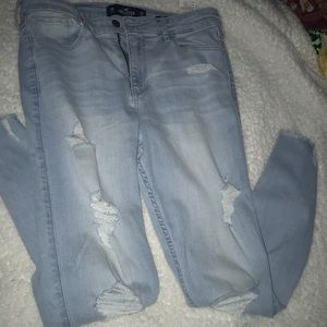 hollister ripped blue jeans